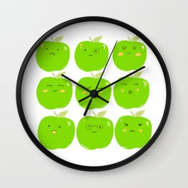 Pack of Granny Smith Apples Wall Clock