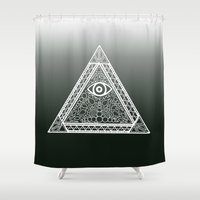 evil eye Shower Curtains featuring Evil Eye by Emmy