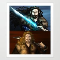 fili Art Prints featuring Thorin & Fili by wolfanita