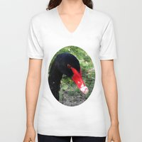 black swan V-neck T-shirts featuring Black Swan by Moonshine Paradise