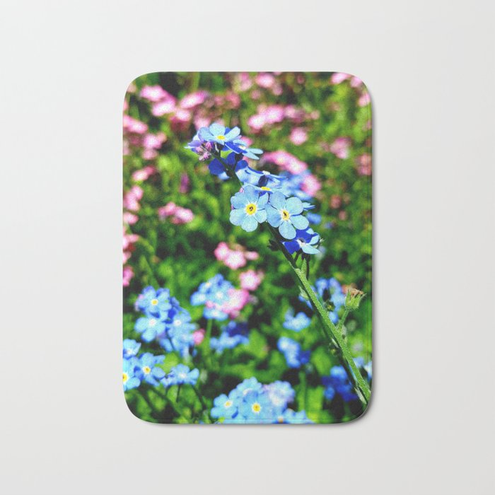 Pink And Blue Forget Me Nots Bath Mat