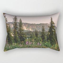 Mount Rainier Wildflower Adventure VII - Pacific Northwest Mountain Forest Wanderlust Rectangular Pillow