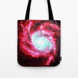 Spiral Galaxy Red Aqua Tote Bag