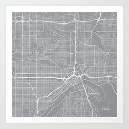 St Paul Map, Minnesota USA - Pewter Art Print
