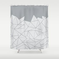 psych Shower Curtains featuring Abstract Mountain Grey by Project M