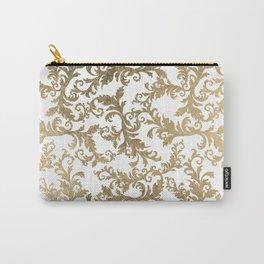 Vintage faux gold elegant floral damask Carry-All Pouch