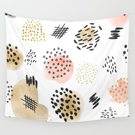 Mid Century Modern Abstract Blush and Gold Pattern Wall Tapestry