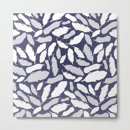 Feather Pattern Blue Metal Print