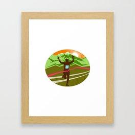 Marathon Finisher Oval Framed Art Print
