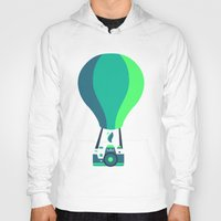 baloon Hoodies featuring Camera-baloon BLACK by GioDesign