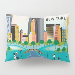 New York City, New York - Skyline Illustration by Loose Petals Pillow Sham