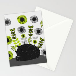 Sleepy cat and floral bouquet Stationery Cards