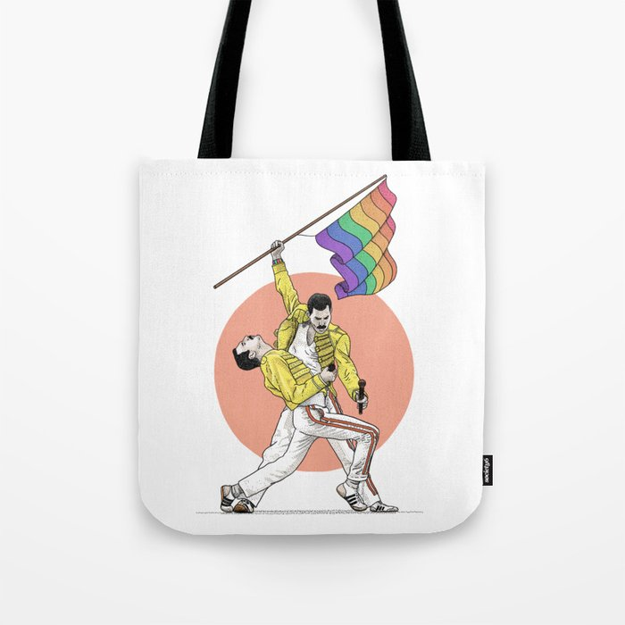 The legend Freddie holds the rainbow flag Tote Bag