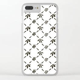 Floral Geometric Pattern Black and White Clear iPhone Case