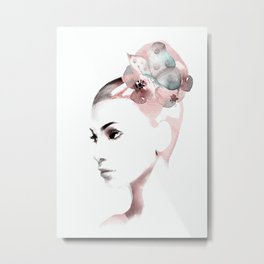 Woman with butterfly Metal Print