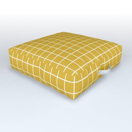 Minimalism Window Pane Grid, Mustard Yellow Outdoor Floor Cushion