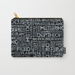 Photography Terms Word Pattern Glass on Black Carry-All Pouch
