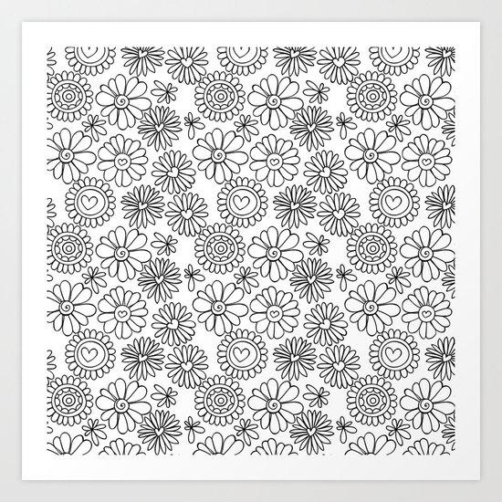 Doodle floral pattern Art Print