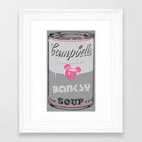 banksy Framed Art Prints featuring Banksy Soup by Ken Surman