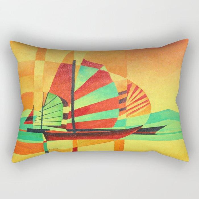 Chinese Junks Sail to Shore  Rectangular Pillow