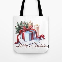 New Year's composition with candles, a gift and spruce branches. Tote Bag