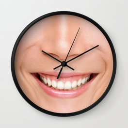Funny real photo of woman smile mouth lips face mask Wall Clock