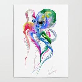 Rainbow Octopus, blue green octopus decor Poster