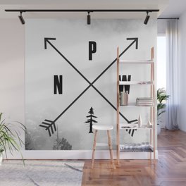 PNW Pacific Northwest Compass - Black and White Forest Wall Mural