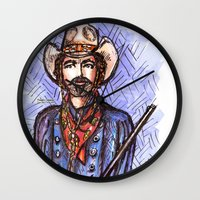 tom selleck Wall Clocks featuring Quigley Down Under, Tom Selleck Drawing by Douglas Mooney
