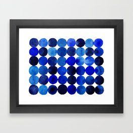 Blue Circles in Watercolor Framed Art Print