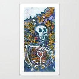 Skeleton Thinks Big Thoughts Art Print