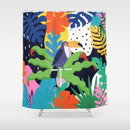 Bold Tropical Jungle Abstraction With Toucan Memphis Style Shower Curtain