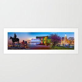 Kansas City Scout - Union Station - J.C. Nichols Memorial Fountain Panorama Cityscape Collage Art Print