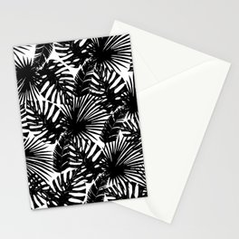 Modern black white watercolor tropical floral leaves Stationery Cards