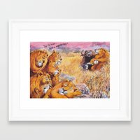 vegetarian Framed Art Prints featuring vegetarian lion by Rose Rigden