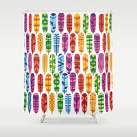 feathers Shower Curtains featuring Feathers by Wharton