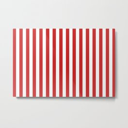 Red and White Candy Cane Stripes Thick Vertical Line Pattern, Festive Christmas Metal Print