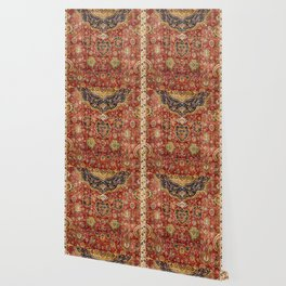 Indian Boho II // 16th Century Distressed Red Green Blue Flowery Colorful Ornate Rug Pattern Wallpaper