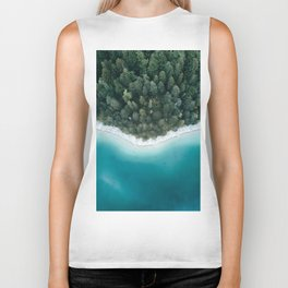 Green and Blue Symmetry - Landscape Photography Biker Tank