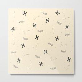 Pisces Pattern - Beige Metal Print