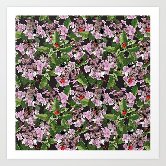 Floral insects pattern Art Print
