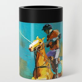 poloplayer abstract turquoise ochre Can Cooler