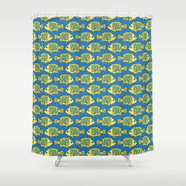 Tropical Fish in Pastel - Doodle Pattern Shower Curtain