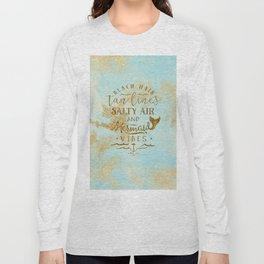 Beach - Mermaid - Mermaid Vibes - Gold glitter lettering on teal glittering background Long Sleeve T-shirt