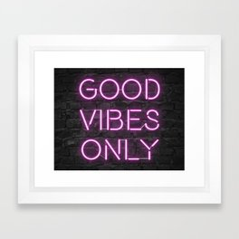 Neon Good Vibes - Pink Framed Art Print
