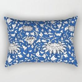 Chinoiserie Vines in White + Navy Blue Rectangular Pillow