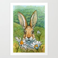 Funny bunnies - with Chamomiles 889 Art Print