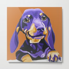 Dachshund portrait on a copper background Metal Print