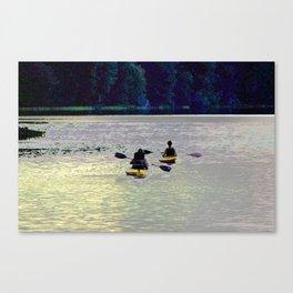 Twilight Kayaking Beach Lake, PA Canvas Print