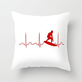 SURFING MAN HEARTBEAT Throw Pillow
